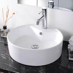 Bathroom Round Porcelain Sink w/ Overflow Faucet Set Combo | The DIY Outlet