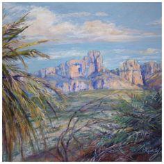 Big Bend National Park landscape painting by Texas artist Lindy Cook Severns Pastel Landscape, Park Landscape, Landscape Paintings, Colorful Mountains, Desert Colors, Southwestern Art, African Grey Parrot, Oil Painters, Hot Springs
