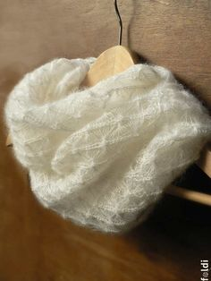 Knitted silk and mohair lace cowl snood in white by foldi on Etsy, $65.00