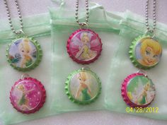 TINKERBELL party favor - bottle cap necklace (Etsy)