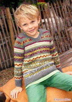 Пуловер JULIAN для мальчика декорирован жаккардовым узором.