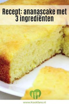 This summery and airy pineapple cake is made with only 3 ingredients! Köstliche Desserts, Healthy Dessert Recipes, Baking Recipes, Delicious Desserts, Yummy Food, Food Cakes, Cupcake Cakes, Decadent Cakes, Sweet Pie