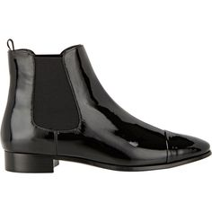 Prada Cap-Toe Chelsea Boots ($895) ❤ liked on Polyvore featuring shoes, boots, ankle booties, sapatos, women, black, prada booties, pull on boots, black patent boots and black chelsea boots