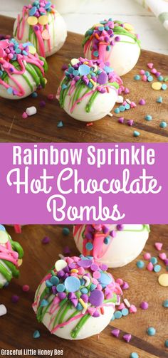 See how fun and easy it is to make these Rainbow Sprinkle Hot Chocolate Bombs for a treat or gift. Find full recipe details at gracefullittlehoneybee.com #rainbowsprinkles #hotchocolatebombs #unicorn #whitechocolate Chocolate Bomb, Hot Chocolate Bars, Easter Chocolate, Chocolate Gifts, White Chocolate Chips, Melting Chocolate, Dessert From Scratch, Easter Treats, Easter Food