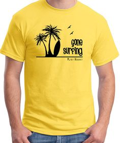 "Great t-shirt showing surfboard, palm trees and seagulls at the beach and the saying ""Gone Surfing"". If you are a surfer this shirt is for you."