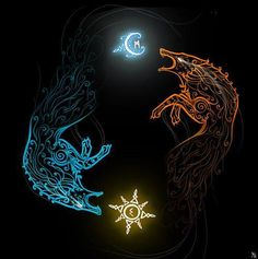 In Norse mythology, Sköll is a wolf that chases the horses Árvakr and Alsviðr, that drag the chariot which contains the sun through the sky every day, trying to eat her. Sköll has a brother, Hati, who chases Máni, the moon. At Ragnarök, both Sköll and Hati will succeed in their quests.