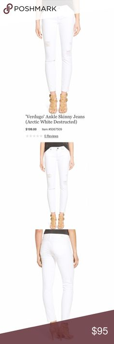 Paige Verdugo Ankle Skinny - Distressed Precise shredding lends cool-girl character to bright white skinny jeans cut in an ankle-grazing length. This style is crafted from supersoft brushed denim, which boasts exceptional comfort. Zip fly with button closure. Five-pocket style. 98% cotton, 2% spandex  ✨Reasonable offers considered ✨Bundle discounts offered Paige Jeans Jeans Skinny