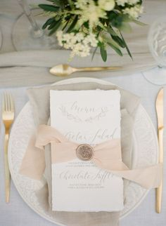 Add a Touch of Greek Style to Your Wedding Day A talented team of wedding vendors transformed an all-neutral color palette into Greek style perfection including romantic drapery and olive branch details. Wedding Napkins, Wedding Menu, Wedding Stationary, Wedding Paper, Wedding Themes, Wedding Vendors, Wedding Designs, Wedding Table, Wedding Cards