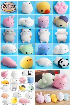 Mochi Squishy Cute Release Stress Animal Squeeze Mini Toys Soft Cat Panda 20 Pcs - $15.81 - 15.81