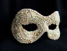 Baroque style gold & pale green beaded masquerade eye mask