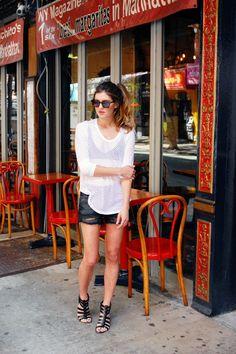 New York City Fashion, Lifestyle, Travel blog: Square sunglasses, mesh top, triangle bra, cutoff shorts, strappy sandals