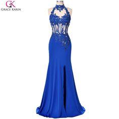 Mermaid Evening Dresses Slit Robe De Soiree 2017 Grace Karin Halter Backless Sequin Beaded Blue Formal Gowns Long Evening Dress