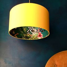 Teal Lemur Wallpaper Silhouette Lampshade with Egg Yolk Yell.- Teal Lemur Wallpaper Silhouette Lampshade with Egg Yolk Yellow Petrol / Lemur Tapete Silhouette Lampenschirm mit Ei Eigelb Jungle Scene, Handmade Lampshades, Mad About The House, Quirky Decor, Ceiling Pendant, Pendant Lights, Jar Chandelier, Chandelier Design, Glass Ceiling
