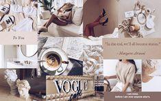 aesthetic laptop beige desktop collage macbook vibey wallpapers brown screensaver vogue chanel golden linnea pc vsco marble dior quotes makeup