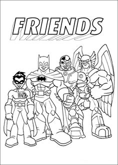 Super Friends Fargelegging for barn. Tegninger for utskrift og fargelegging nº 3