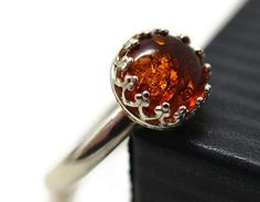 Natural Baltic Amber Ring Simple Silver Ring Orange by fifthheaven