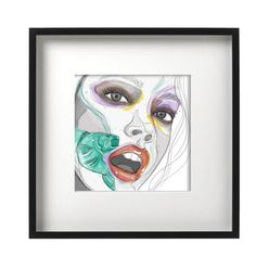 Great gift for art lovers or even  interior design lovers! If you're not sure what to get your loved ones for international women's day, this art illustration piece might be perfect for you! It is custom made and come in a beautiful black frame. Click the link in the post to purchase! #womensday #celebration #giftforgirlfriend #mothersday #interiordesign #homedecor #giftforher #womanempowerment #love #illustratione #uniqueart #artprint Gifts For Art Lovers, Lovers Art, Portrait Art, Woman Portrait, Tape Wall Art, Art Illustrations, Illustration Art, Shadow Box Art, Wall Art For Sale