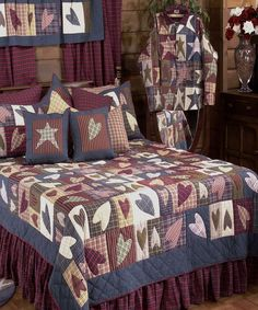 Patch Magic Quilts Primitive Hearts Queen Quilt by Patch Magic QuiltsBedding: The Home Decorating Company Country Style Curtains, Country Bedding, Country Quilts, Primitive Bedding, Primitive Quilts, Colchas Country, Country Decor, Primitive Country, Bedroom Sets