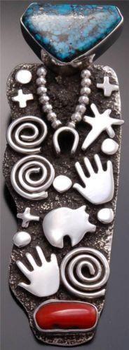 Kingman Turquoise Coral Navajo Silver Petroglyph Pendant by Alex Sanchez - VN82V
