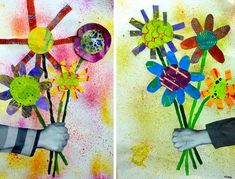 Eric Carle painted papers, or Picasso reference - Mother's Day? Eric Carle, Kindergarten Art, Preschool Art, Art Floral, Arte Elemental, Classe D'art, 2nd Grade Art, Spring Art, Mothers Day Crafts