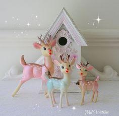 Trio of pastel vintage reindeer