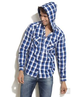 ROVER // Bold Checked Shirt With Hoodie
