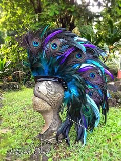 Feather Mohawk Headdress   Anemone by michellecuriel on Etsy