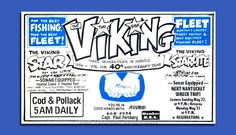 """This 1976 advertisement for the """"VIKING FLEET"""" at Montauk, NY announces its anniversary and three generations of fishing experience. The """"VIKING STAR"""" was a steel vessel and her advertising slogan was """"You're in good hands with ALLSTEEL"""". Montauk Fishing, Lobster Fishing, Advertising Slogans, Charter Boat, Best Fishing, The Hamptons, Vikings, Childhood, History"""