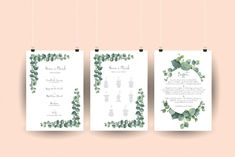 Hochzeitsposter mit Eukalyptus und Signature Schrift: Programm, Sitzplan, Buffet Bullet Journal, Planer, Buffet, Design, Seating Plans, Catering Display, Lunch Buffet