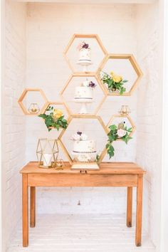 Honeycomb Wedding Dessert Table Camilla J Hards Photography and Party Squared create a fun bright wedding inspired by Bees with honeycomb details like t. Wedding Table Toppers, Wedding Cake Stands, Table Wedding, Cake Table, Dessert Table, Wedding Cake Backdrop, Ceremony Backdrop, Hexagon Wedding Cake, Camilla