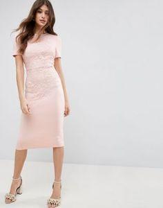 ASOS Crochet Lace Scuba Bodycon Midi Dress