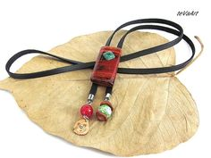 #Bolo tie author's work.New design for women.Agate stone,jasper,metal stainless steel,green agate,ruby agate,caps from nut shells and wood cypress.Hypoallergenic.           ... #bolo