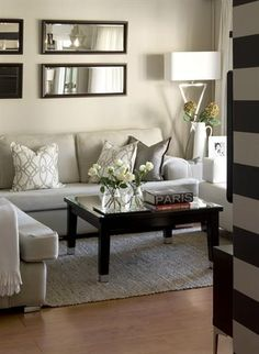 Just by using clever furniture placement, two rooms, with different functions, were created in one small space. Here's how you can do it in your own home. Small Space Living Room, Ikea Living Room, Living Area, Living Room Furniture, Living Rooms, Furniture Placement, Decorating Small Spaces, House And Home Magazine, Interior Design