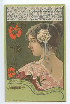 Art Nouveau advertising Embroidery Silk JESURUM original 1900s Poster postcard