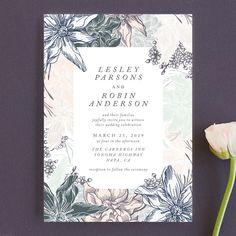 """hand drawn garden"" - Wedding Invitations in Navy by Phrosne Ras. Diy Wedding Stationery, Botanical Wedding Invitations, Luxury Wedding Invitations, Wedding Programs, Wedding Venues Toronto, 7th Wedding Anniversary, Dream Wedding, Wedding Day, Inexpensive Wedding Venues"