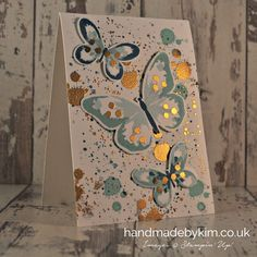 Handmade by Kim: Pinkies Blog Hop - Sparkling Watercolor Wings Butterfly card using Stampin' Up! products on World Card Making Day 2015