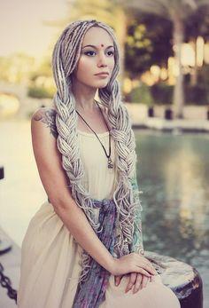 dreads in long braids. Dread Braids, Long Braids, Dreadlock Hairstyles, Braided Hairstyles, Cool Hairstyles, Wedding Hairstyles, Beautiful Dreadlocks, Dreads Girl, White Girl Dreads