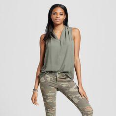 Women's Sleeveless V-Neck Blouse Olive Green XS - Mossimo