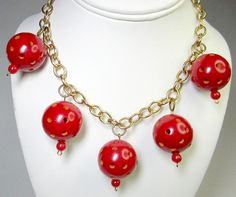 Bakelite Necklace Red Balls With Holes Brass Chain Vintage