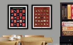 Origin of Games: llustrated Poster of Classic Tabletop Games