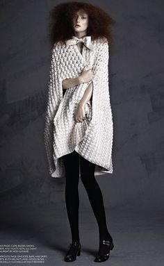 Crocheted cape coat, chic knitwear // Saint Laurent Fall