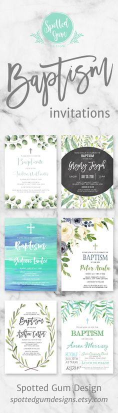 Just a sample of some of the beautiful baptism invitations available at Spotted Gum Design... :)