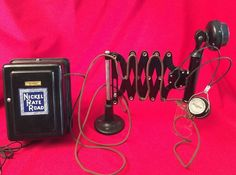 Antique Nickle Plate Road Railroad Phone Scissor Dispatch Candlestick & Headset