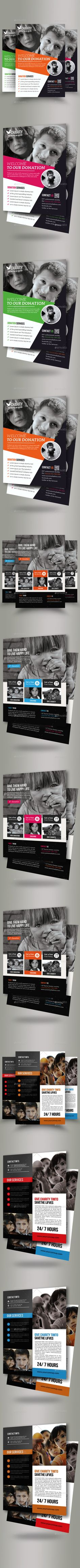Charity & Donation Flyer Bundle by Business_Flyers Features: Photoshop cs5 is used to create this file 8.5×11 inches size 0.25 Inches Bleed CMYK Color Editable Vector & Color Font