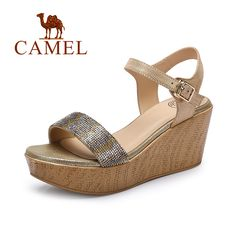 >> Click to Buy << Camel 2016 fashion women sandals high heel sandals wedges stripe leather sandals thick heel A62153633 #Affiliate