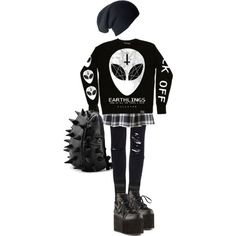 """Cosy Alien Goth"" by psychara on Polyvore"