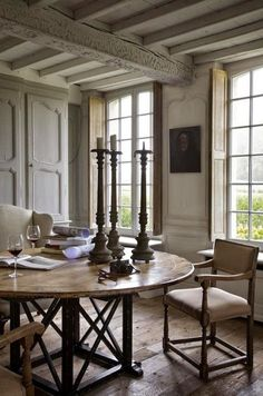 love dining table, chairs, armoire…..rustic wood beamed ceiling..and wood floors