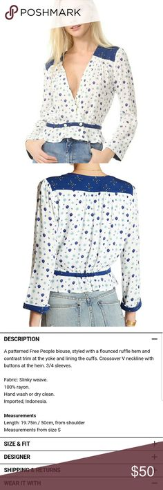 NWT Free People printed top Brand new with tags Free People blue and white printed top Free People Tops
