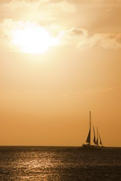 Aruba Sunset with Sailboats