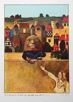"""Humpty Dumpty"" illustrated by Peter Blake from ""Alice Through The Looking Glass"" by Lewis Carroll Framed Canvas Prints, Canvas Frame, Art Prints, Lewis Carroll, Alice In Wonderland 1, Peter Blake, Childrens Artwork, Humpty Dumpty, Royal College Of Art"